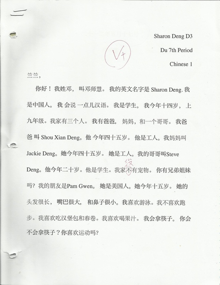 in the pen pal letter project we wrote letters in chinese about ourselves it included our name age occupation family likes and dislikes